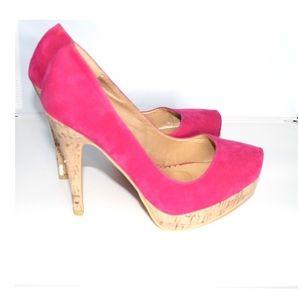 Torrid Pink Velvet Cork Heels Platform Shoes